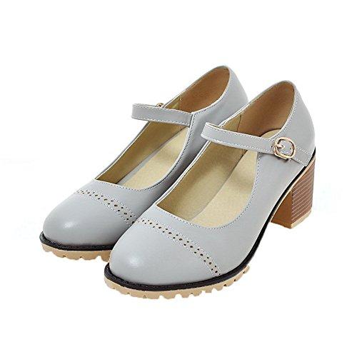 Odomolor Women's Solid Upper Leather Kitten-Heels Buckle Closed-Toe Pumps-Shoes Gray dB4jFZA0