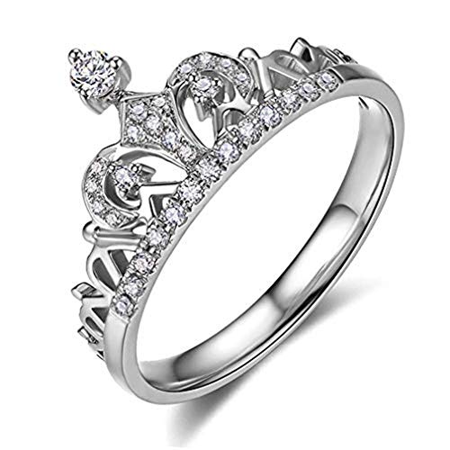 Accented Tall Fashion - CHASIROMA Clear Exquisite Princess Crown Tiara Design Tiny Cubic Zirconia CZ Diamond Accented Fashion Ring
