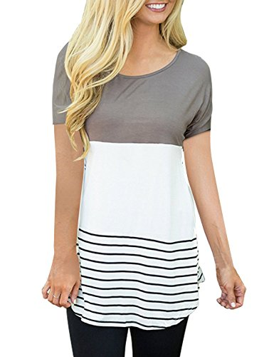 CEASIKERY Women's Summer Comfy Tunic Color Block Casual T-Shirt Short Sleeve Tops (US) X-Large Style 005 (Block Summer)