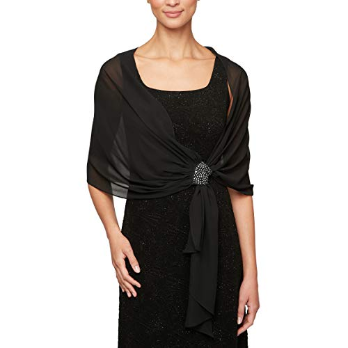 Alex Evenings Women's Wraps, Shawls, Cover Ups, and Evening Jackets, Black Embellished Detail, One -
