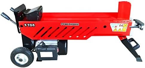 Powerhouse Log Splitters XM-580 9 Ton Electric Hydraulic Horizontal Log Splitter, Red/Black/Silver