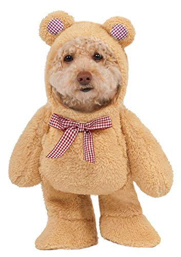 Walking Teddy Bear Pet Suit, X-Small White ()