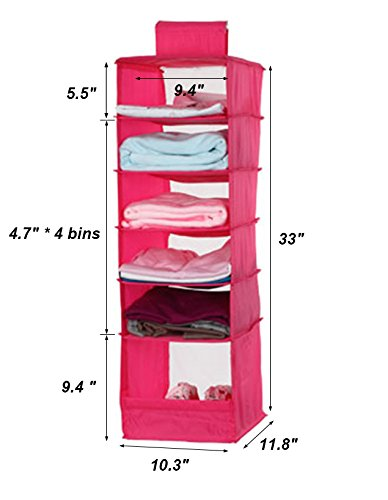 NKTM 6-Shelf Girls Closet Hanging Shelf Shoe Sweater Clothing Organizer for Students Children Pink 600D Oxford Fabric,10.3x11.8x33 inches by NKTM (Image #2)