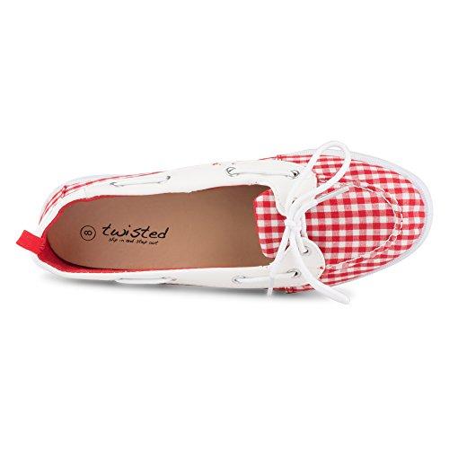 Chaussures Bonnie Torsadée Simili Cuir Femme Bateau Rouge Vichy