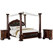 HOMES: Inside + Out 3 Piece ioHOMES Felder Canopy Bed Set with 2 Nightstands, Queen, Cherry