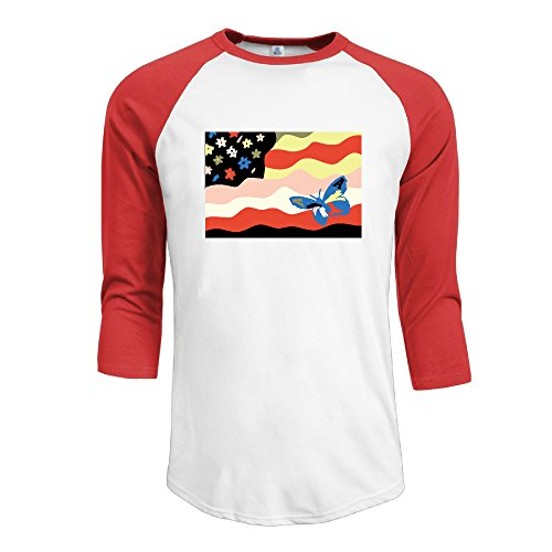 Men's 11 The Avalanches Wildflower 2 100% Cotton 3/4 Sleeve Athletic Baseball Raglan Shirt Red US Size L