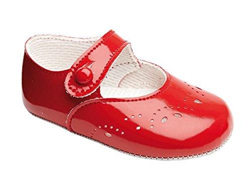 Early Days Baypods–Zapatos merceditas para bebé, cierre con agujero y botón, diseño de pétalos rojo (Red Patent)