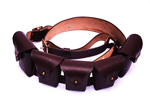 WARCRAFT EXPORTS 1903 Pattern Leather Five Pocket Bandolier for Jawa Costume]()