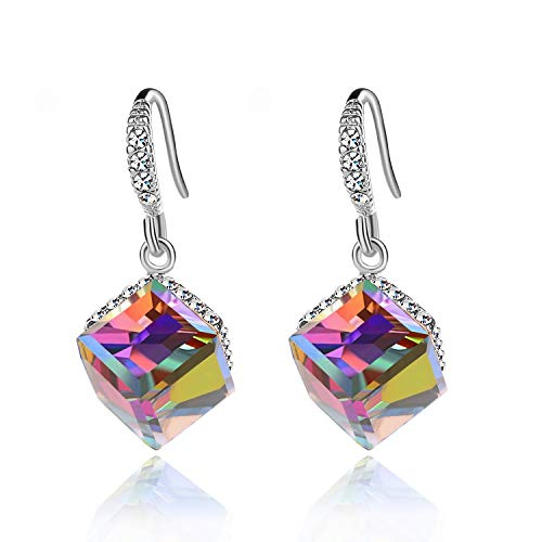 (Colorful Cube Swarovski Crystal Earrings for Women Girls 14K Gold Plated Color Changing Drop Earrings (Rainbow)