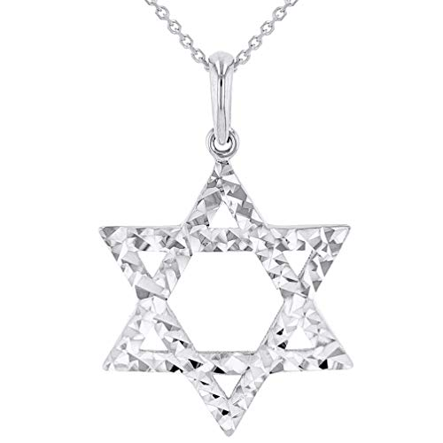 (Solid 14k White Gold Textured Hebrew Star of David Pendant Necklace, 22