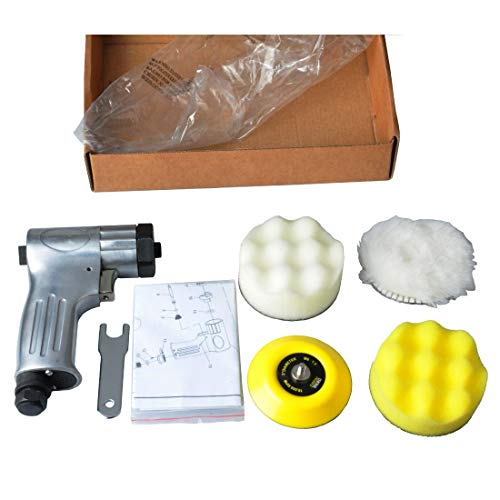 Air Buffer Kit - PROSHI 3-Inch Mini Air Polishing Kit 3-Inch Mini Polisher with the sanding pad and form pad and wool buffing