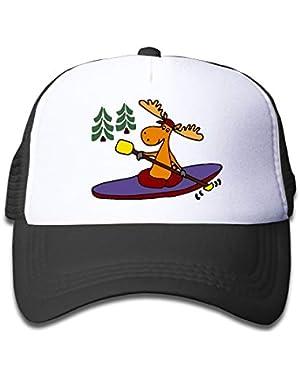 Kayaking Moose On Kids Trucker Hat, Youth Toddler Mesh Hats Baseball Cap