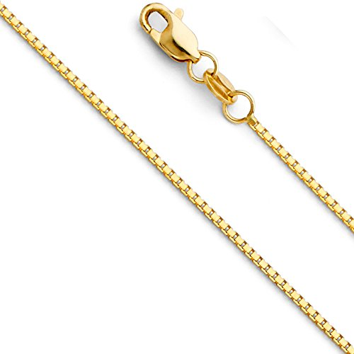 (The World Jewelry Center 14k Yellow Gold Solid 0.9mm Box Link Chain Necklace with Lobster Claw Clasp - 18
