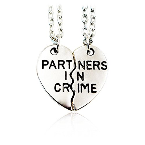 SOOZ_SOOZ : 2 Part 1 Set Half A Person Necklace Partners In Crime BFF Friendship Heart Pendant Necklace Best Friend Heart-Shaped Gift -