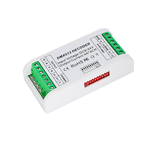 4 CH Mini DMX 512 LED Controller, 4 Channel RGBW Dimmer Decoder Driver For LED Strip Module DC9-24V 16A