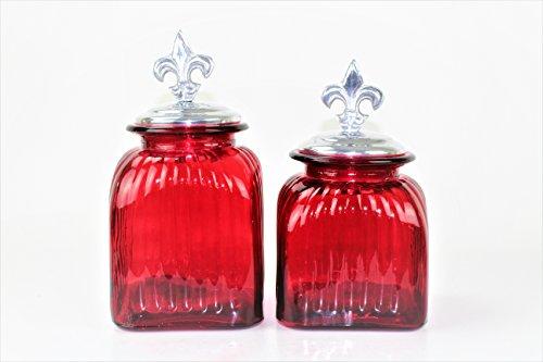 2 PC RED CANISTER SET WITH LIDS (FLEUR DE LI TOP, SILVER)FREE SALT & ()
