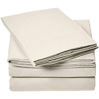 AmazonBasics Everyday Flannel Bed Sheet Set - Queen, Beige