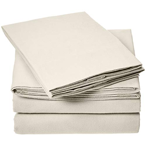 AmazonBasics Everyday Flannel Bed Sheet Set - Queen, - Beige Flannel