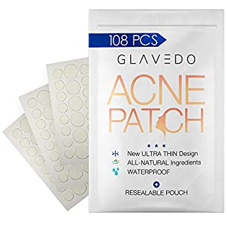 Acne Patch (108 Pack) - Pectin Hydrocolloid Pimple Patches for Face - Non-Drying, Waterproof & Invisible Spot Treatment - Absorbs Pus & Oil, Avoids Scar, Reduces Bumps, Pain & Redness of Blemish