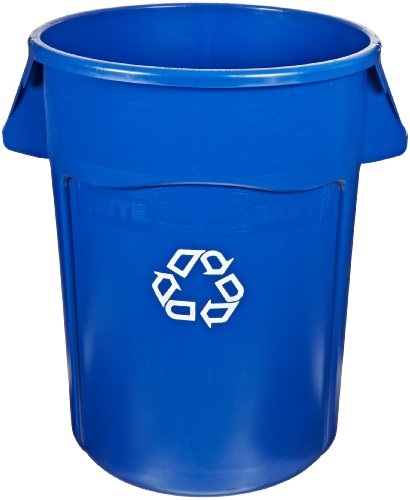 Rubbermaid Commercial FG264307BLUE Brute Plastic 44-Gallon Vented Recycling Container, Round Blue by Rubbermaid Commercial Products (Image #1)