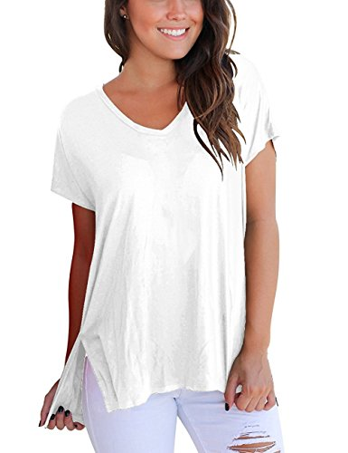 Women's Short Sleeve T Shirt High Low Loose Basic Tee Tops with Side Split Casual Tee Shirts(White 2XL)