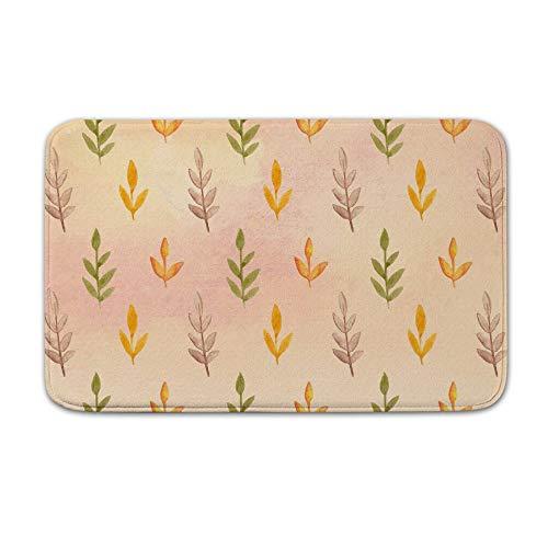 (DKISEE Indoor Outdoor Entrance Rug Floor Mat Bathmat Watercolor Leaves Pattern Doormat )