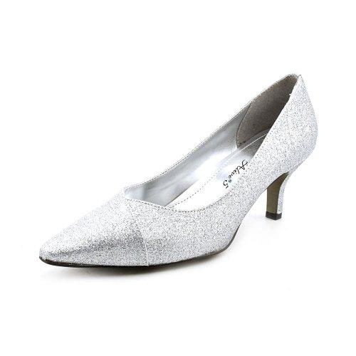 Easy Street Women's Chiffon Pointed Toe Pump,Silver Glitter,8.5 M US