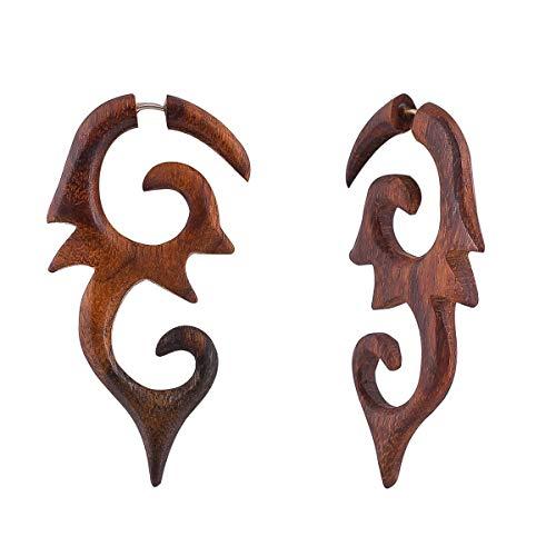 Crafted studio Women's Tibetan Antique Wooden Carved African Tribal Big Fake Gauge Earrings 2.8
