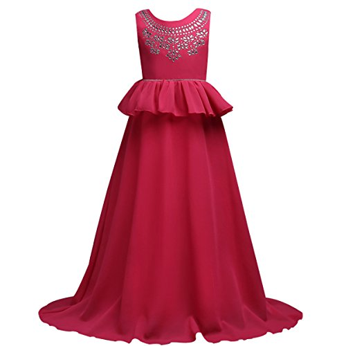 Embellished Satin A-line Dress - Little Big Girls' A-line Dresses 7-16T Rhinestone Chiffon V-Back Party Fall Wedding Floor Length Evening Dance Gowns Rose 10-11 Years