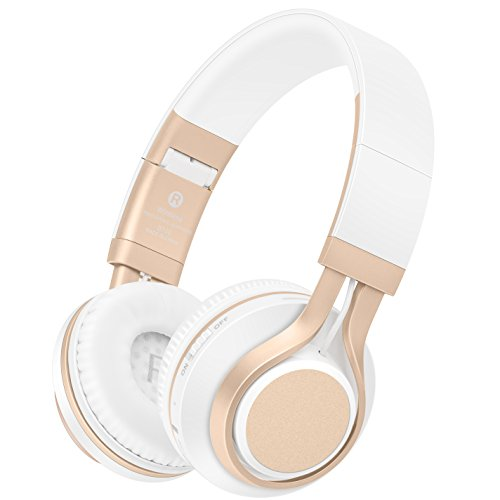 Wireless Bluetooth Over Ear HD Stereo Headphones with Microphone, Rechargeable Headphones with Volume Control, Foldable, Adjustable, Lightweight, Wireless&Wired for PC, IPhone, Phones, (Gold/White)