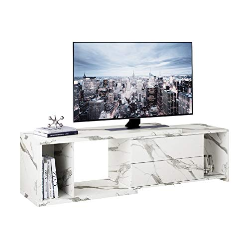 DEVAISE TV Console Stand, Modern Entertainment Center Media Stand for Living Room, White