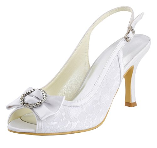 (Minishion Girls Womens Slingback Bows Ivory Lace Bridal Wedding Sandals Formal Party Shoes US 8)