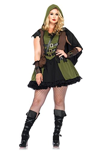 Sexy Female Robin Costumes - Leg Avenue Women's Plus-Size 3 Piece Darling Robin Hood Costume, Hunter Green, 1X/2X