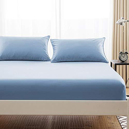 ボックスシーツ 毛玉なし 綿100% シーツ マチ部分約30cm ベッドシーツ マットレスカバー ベッドカバー (セミダブル・120X200cm, ブルー)
