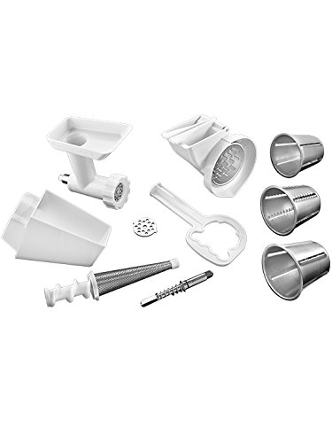 (KitchenAid FPPA Stand Mixer Attachment Pack 1 with Food Grinder, Fruit & Vegetable Strainer, and Rotor Slicer & Shredder)