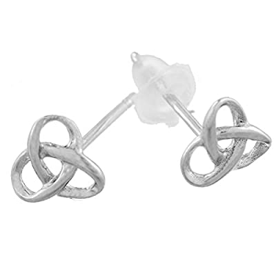 Encounter Sterling Silver Celtic Heart Knot Earrings Stud 6.5x6mm