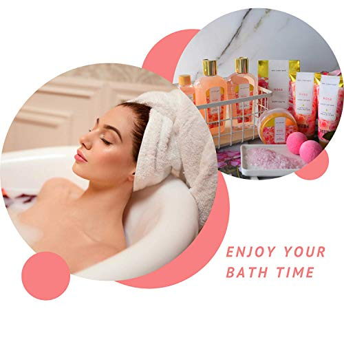 Spa Luxetique Spa Gift Baskets for Women, Rose Spa Set, Bath Gifts for Women, Luxury 10Pcs Home Bath Set with Bath Salts, Body Lotion, Shower Gel, Body Butter, Beauty Gift Set for Women Gifts.