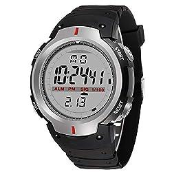 LJS-BQ Sports Watch, Men's Waterproof Multi-Function Outdoor Mountaineering Watch Large Dial Watch Black,Gray