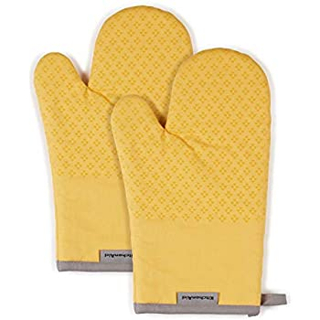 KitchenAid Asteroid Cotton Oven Mitts with Silicone Grip, Set of 2, Yellow