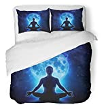 Emvency 3 Piece Duvet Cover Set Breathable Brushed Microfiber Fabric Yoga Woman in Full Blue Moon and Star Meditation Girl Sitting Lotus Pose Under Bedding with 2 Pillow Covers Full/Queen Size