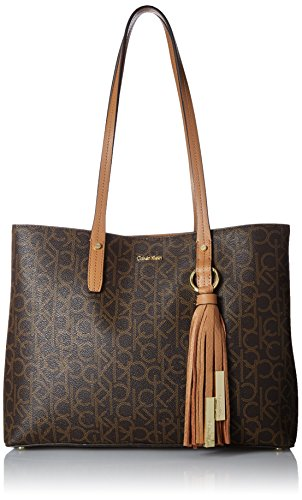 Calvin Klein Maggie Monogram Signature East/West Tote, Brown/Khaki by Calvin Klein
