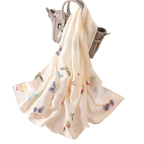 100% Silk Scarf - Women's Fashion Large Sunscreen Shawls Wraps - Lightweight Floral Pattern Satin for Headscarf&Neck (Butterfly-Beige)