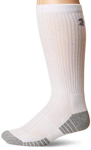 Under Armour Men's Heatgear Tech Crew Socks, White, Medium (3 Pair (Away Football Socks)