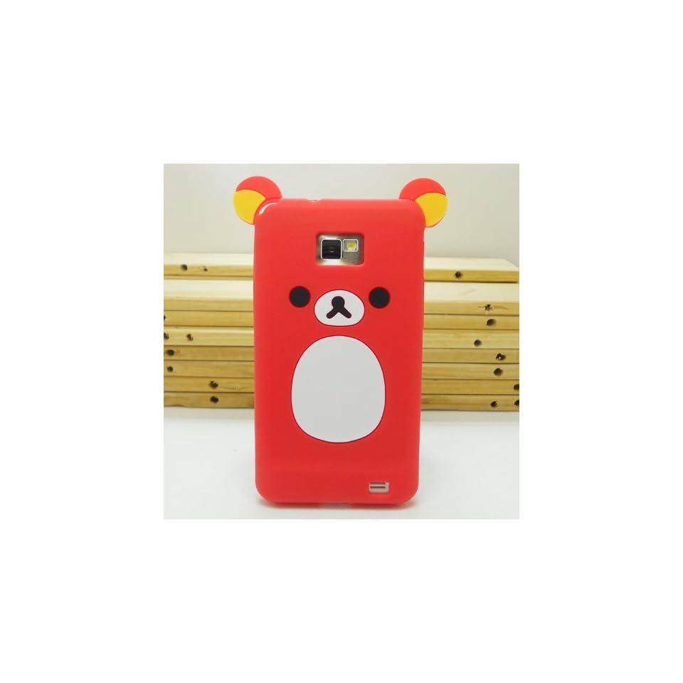 United Electek Cute Cartoon Design 3D Teddy Bear Silicone Rubber Case Cover for Samsung Galaxy S2 i9100 / i777 / i9108, Not Fit S2 T989/ i727/ R760/ Epic 4G Touch SPH D710   Red