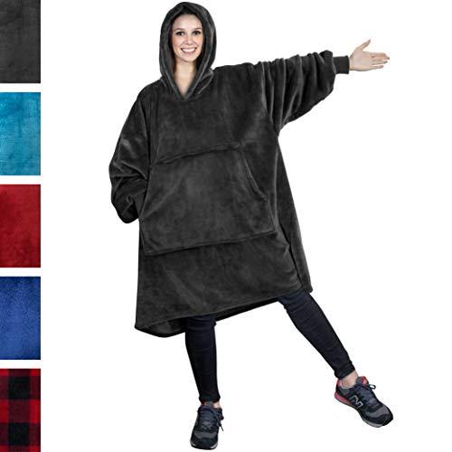 PAVILIA Premium Blanket Sweatshirt | Super Soft, Warm, Fleece Hoodie Blanket for Adults Men Women Girls Boys Kids | Giant Hood, Oversized Pullover with Pocket (Charcoal)