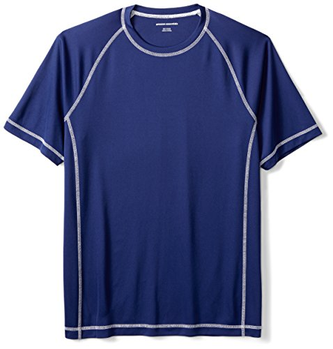 Amazon Essentials Men's Short-Sleeve Quick-Dry UPF 50 Swim Tee, Navy, X-Large (Shirt Loose Uv)