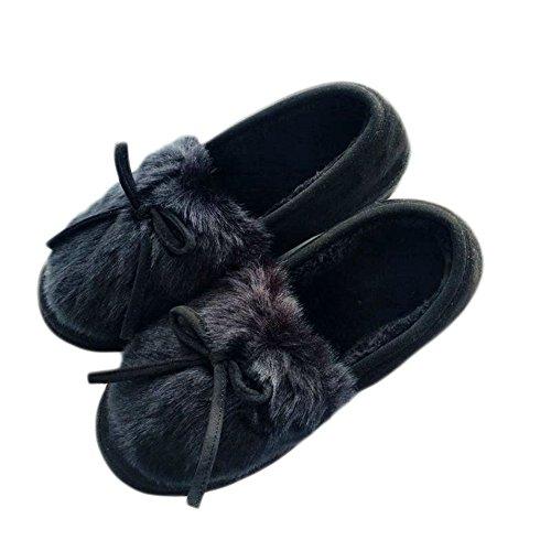 Cybling Winter Warm Indoor Outdoor Zachte Antislip Slippers Voor Vrouwen Loafer Schoenen Zwart