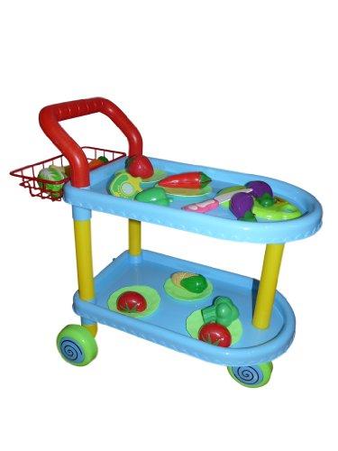 A98 18 teiliges Spiel Set Küchenwagen mit Geschirr (5 Teller, 1 Messer, 1 Schneidebrett) und Gemüse. Mit gesunden Nahrungsmitteln spielend lernen...auch das Schneiden , für die Puppenküche.