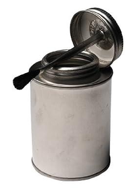 Vestil BTL-MTB-8 Tin Plated Steel Round Bottle with Brush Lid, 8 oz Capacity, Silver
