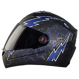 Steelbird SBA-1 R2K LIVE Full Face Helmet in Matt Finish Helmet Fitted with Clear Visor and Extra Smoke Visor (Medium…